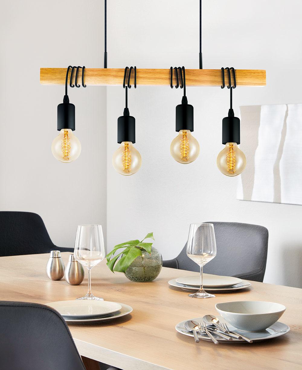 """Retro je stále vkurze Typické """"edisonovské"""" žiarovky dodajú jedálni či kuchyni vďaka svojmu okrúhlemu tvaru príjemný nádych domova. Ponúka www.eglo.sk."""