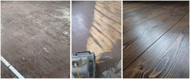 1 / drevená podlaha pred renováciou, 2 / prebrúsenie 3 / podlaha po renovácii – ako nová.