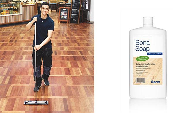 Bona Soap je tekuté mydlo na údržbu drevených olejovaných podláh.
