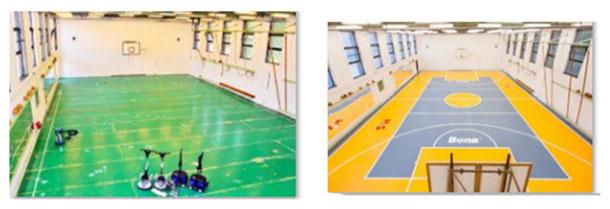 1 / elastická podlaha v telocvični pred renováciou 2 / po renovácii – ako nová.