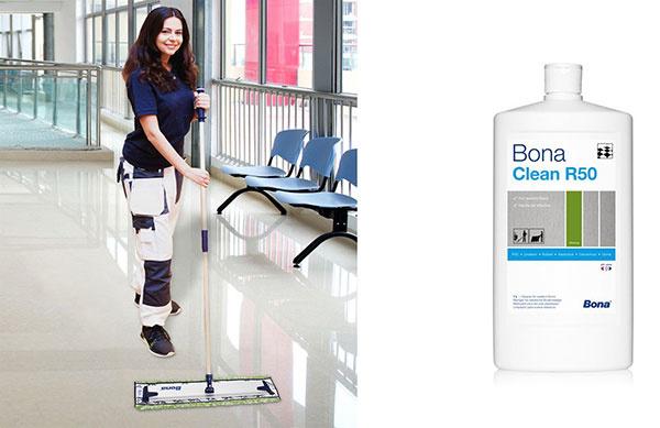 Bona Clean R50 je čistiaci prostriedok na profesionálne čistenie podláh ako vinyl, PVC, linoleum, guma. Pravidelnou údržbou dochádza k redukcii baktérií na podlahe.