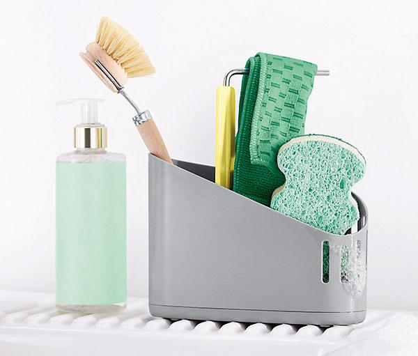 Stojan na potreby na umývanie, plast, kov, ušľachtilá oceľ, silikón, 17,5 × 19,5 × 6 cm, 7,99 €, www.tchibo.sk