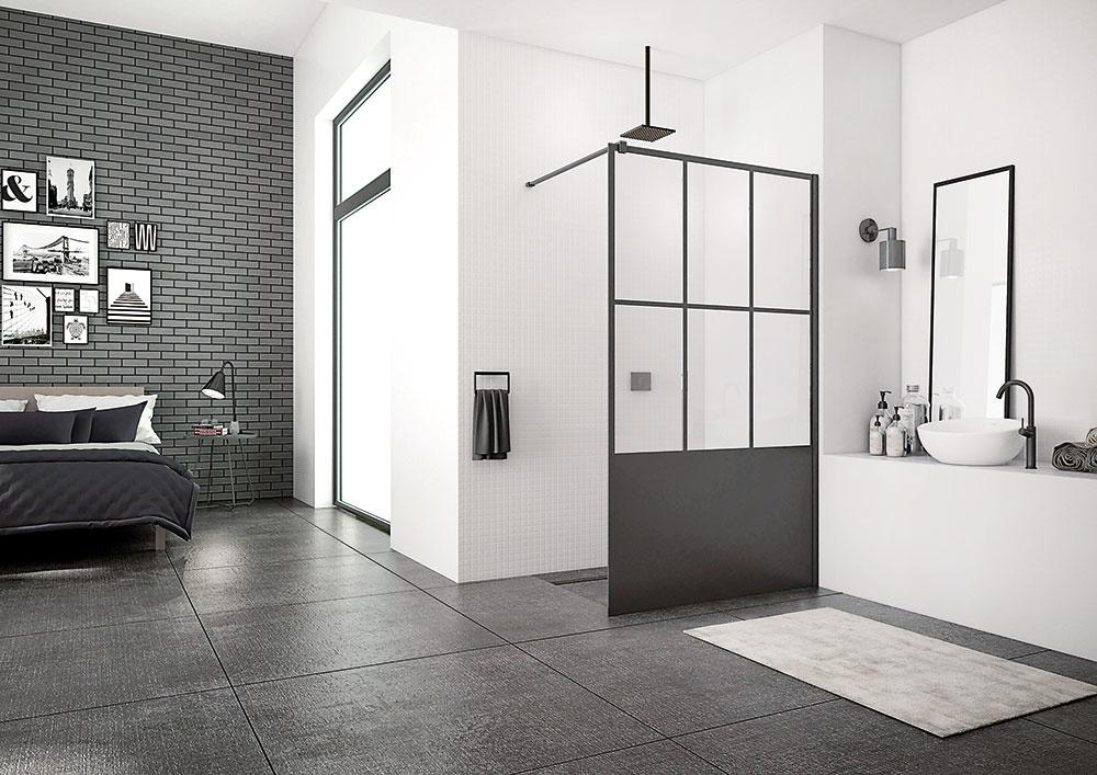 Walk In Black od značky SanSwiss je ideálne riešenie na sprchovanie vloftových bytoch vindustriálnych budovách. Výrazné tvary, geometrické delenie apôsobivé čierne línie prepožičajú zariaďovanému priestoru metropolitný amoderný vzhľad. Voľne stojaca pevná stena dodá kúpeľni úplne nový rozmer.