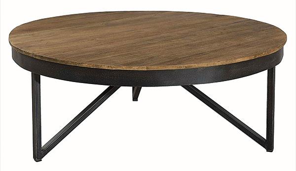 Konferenčný stolík, tíkové drevo, kov, priemer 90 cm, výška 35 cm, 359 €, www.so-inside.com