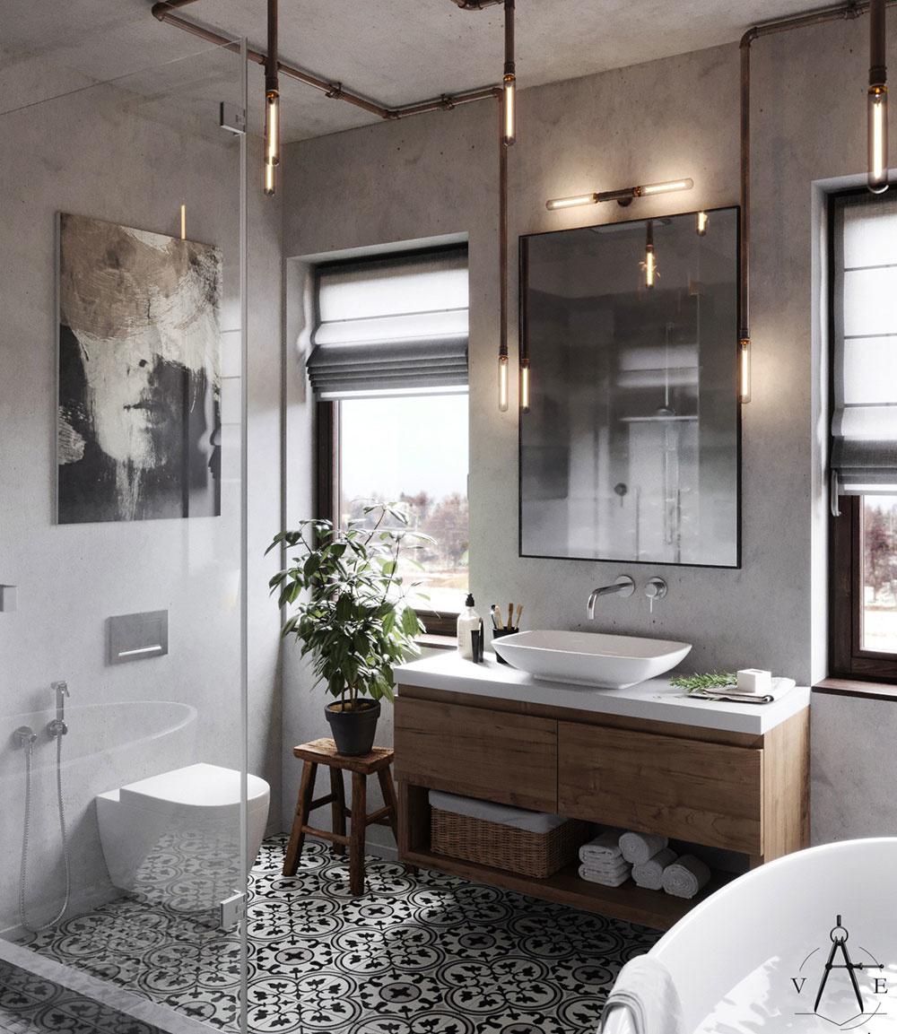 Mäkké akcenty. Industriálny štýl si vyžaduje aj mäkšie akcenty adoplnky. Netočí sa len okolo kovových častí asurových materiálov. Príjemnú atmosféru vkúpeľni navodí nábytok zdreva, umenie na stene, ale ibohatá zeleň.