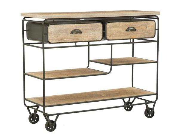 Odkladací stolík na kolieskach aso zásuvkami od značky Mauro Ferretti, železo, MDF drevo, 98,5 × 82 × 37,5 cm, 409,99 €, www.bonami.sk