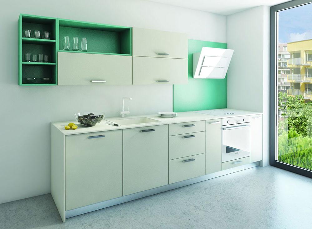 V malých bytoch, obzvlášť v kuchyniach v panelových domoch, sa často uplatnia jednoradové riešenia kuchyne. Modernú sviežu tyrkysovú farbu nájdete v línii Colorama.