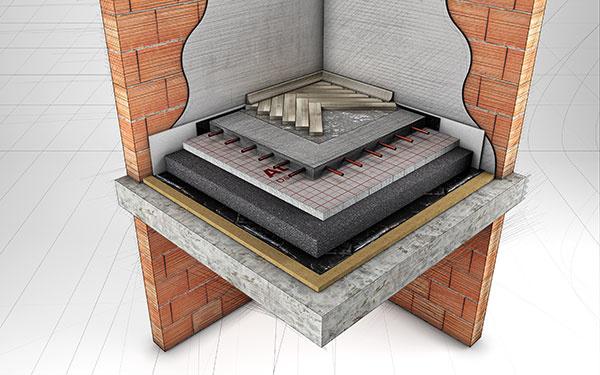 Sivý polystyrén Austrotherm GrEPS v konštrukcii podlahy s podlahovým vykurovaním