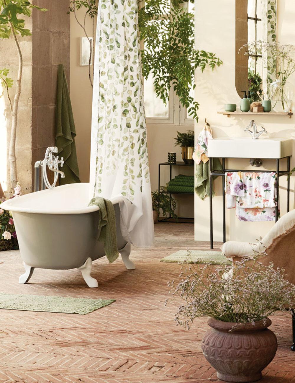 Poriadna DŽUNGĽA. Vneste do svojej kúpeľne toľko rastlín, koľko sa vojde. Samozrejme, vyberte také, ktorým prospieva vysoká vlhkosť amálo svetla, napríklad papraď, tillandsie alebo divokého Jana.