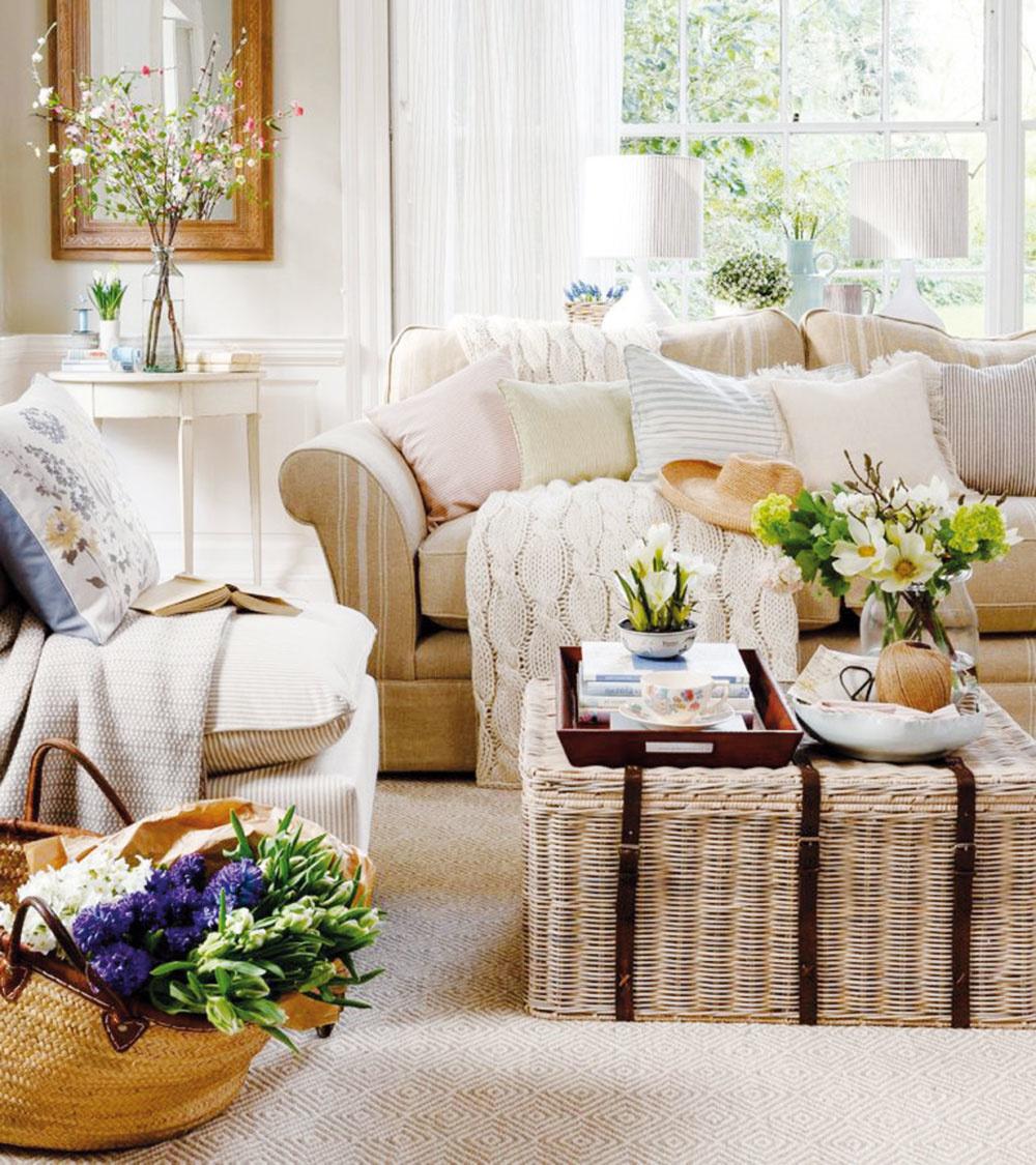 Vidiecka elegancia. Béžová sa vracia – najmä na nábytok atextílie. Ratanový apletený nábytok je momentálne hitom, rovnako ako vankúše adeky zľanu. Prírodniny vinteriéri hrajú prím.