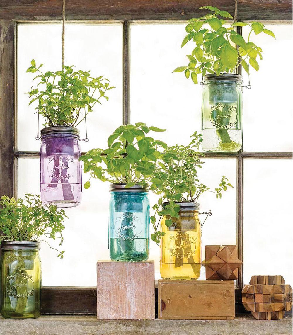 Vlastné bylinky. Dopestujte si vlastnú zeleninu či bylinky aj vmenšej kuchyni. Závesná záhradka zo starých zaváraninových pohárov je nielen užitočná, ale aj mimoriadne milá.