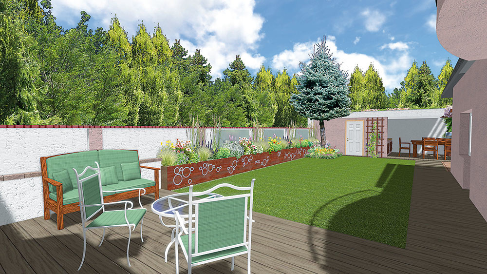 Terasu pri dome tvorí dlažba simitáciou dreva. Ponúka príjemné posedenie pri káve svýhľadom na celú záhradu.