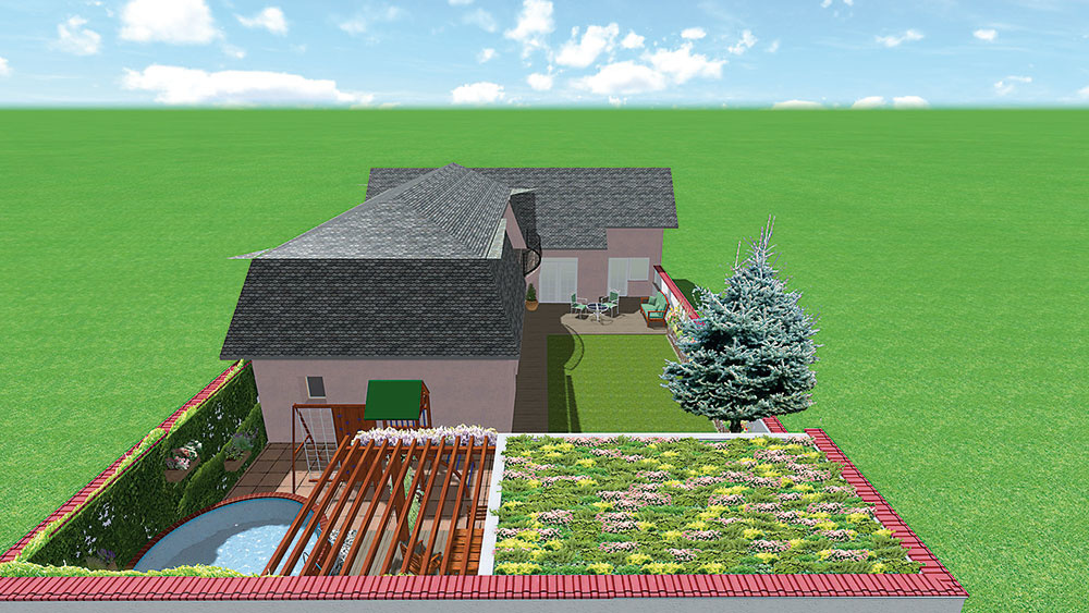 Zelená strecha na prístrešku zvlhčí aosvieži horúci vzduch počas leta. Pre stiesnenosť priestoru sú suchomilné trvalky vkvetináčoch zavesené na múre.