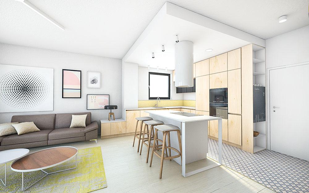 Kuchyňa je od obývačky vizuálne oddelená podlahou i zníženým stropom. Naopak, nábytok je materiálovo podobný so zvyškom interiéru, ktorý sa celý nesie v kombinácii bielej a svetlého dreva.