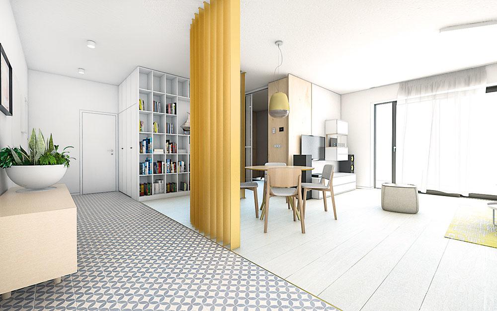 Dlažba s marockým vzorom prináša do priestoru potrebný detail a mierku, čím dostáva interiér nenápadný punc originality.
