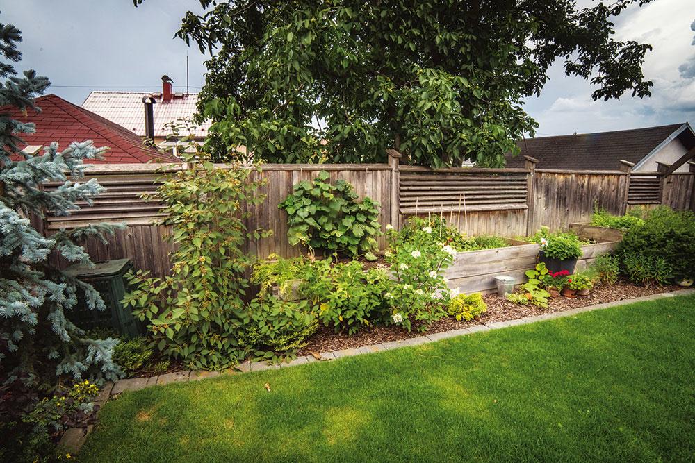 Drevený plot so zaujímavým rastrovaním avyvýšené záhony pre úžitkové druhy postavili majitelia dodatočne.