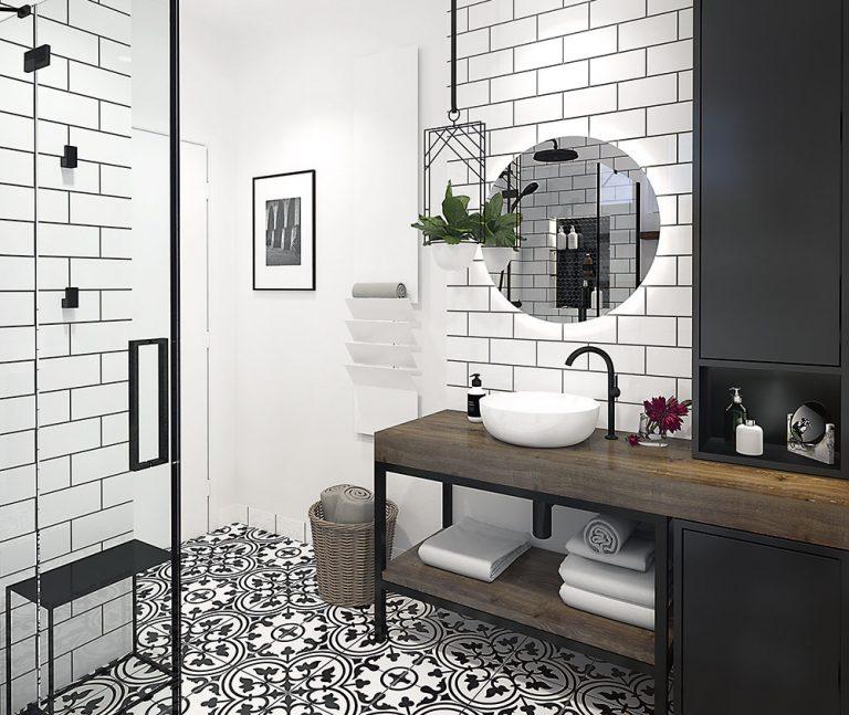 Návrh kúpeľne so sprchovacím kútom a s prvkami industriálneho štýlu