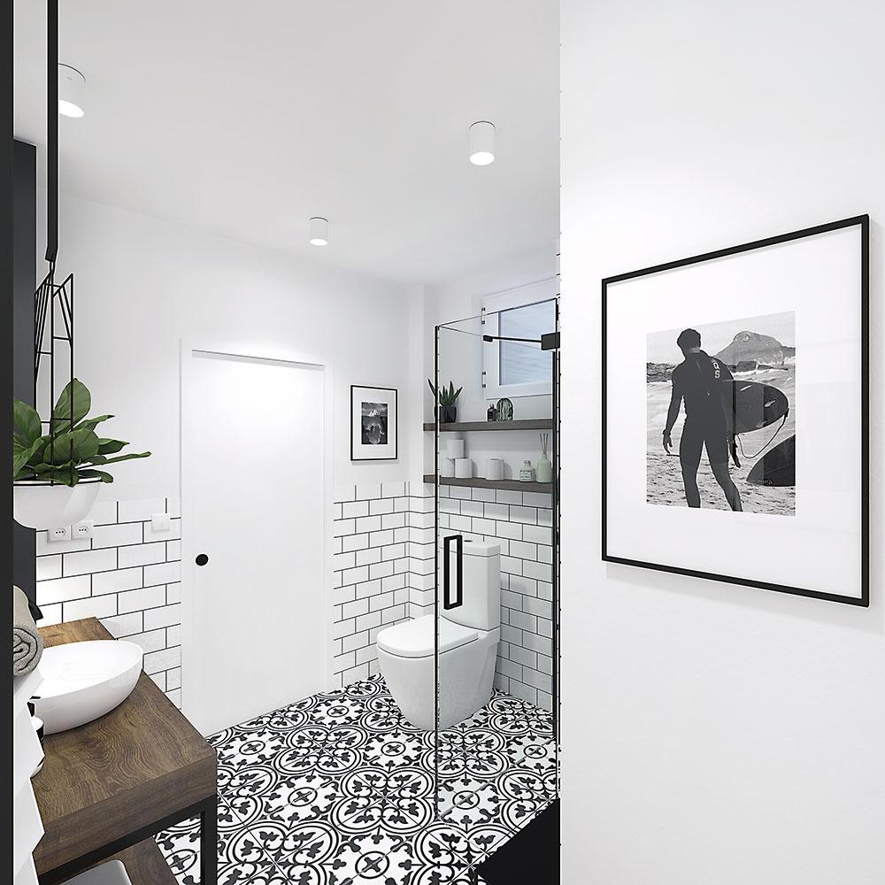 Dlažba s orientálnym vzorom v čiernej a bielej farbe dokáže minimalistickú kúpeľňu decentne oživiť, a pritom zachovať jednoduchý strohý vzhľad.