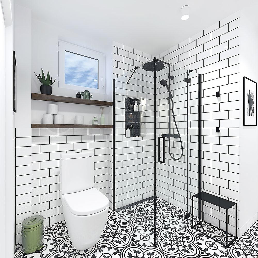 Sprchovací kút vďaka zasklenej zástene a pokračujúcej dlažbe opticky zväčšuje priestor. Je to jediné miesto, kde je obklad až po strop.