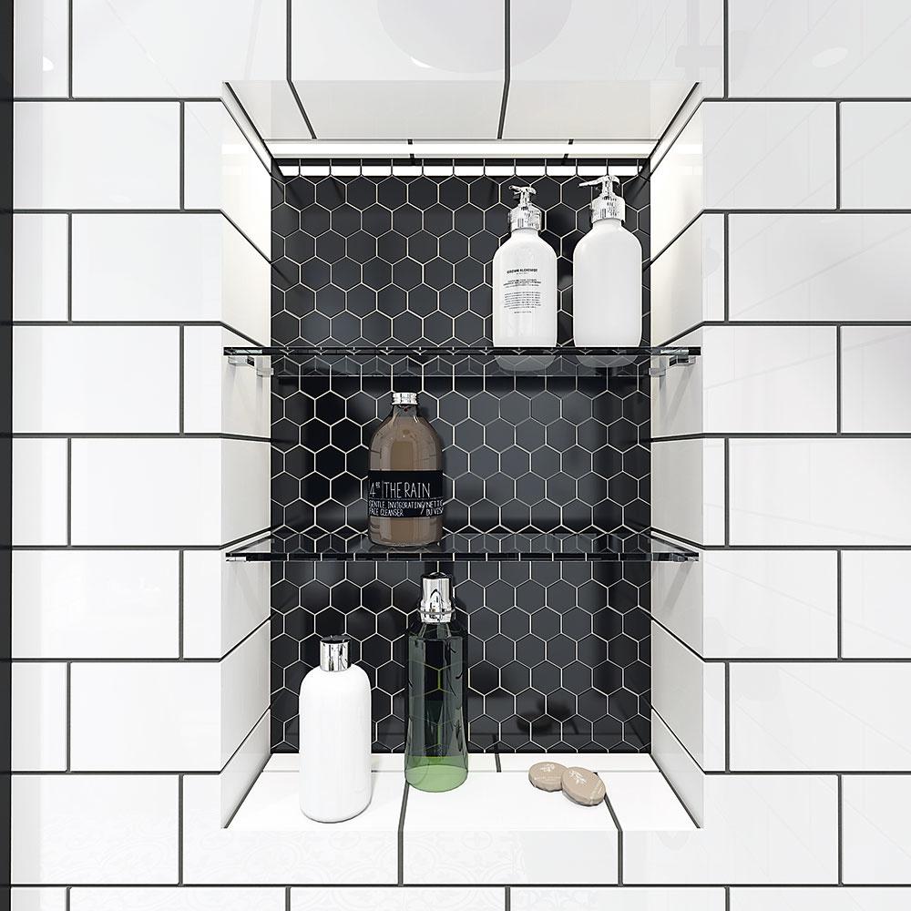 NIKA so šesťuholníkovou mozaikou je nielen praktickým odkladacím miestom, ale vďaka zabudovanému podsvieteniu vytvára príjemný detail.