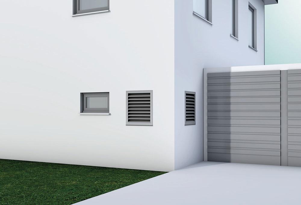 Zariadenie recoCOMPACT s prieduchmi cez stenu domu