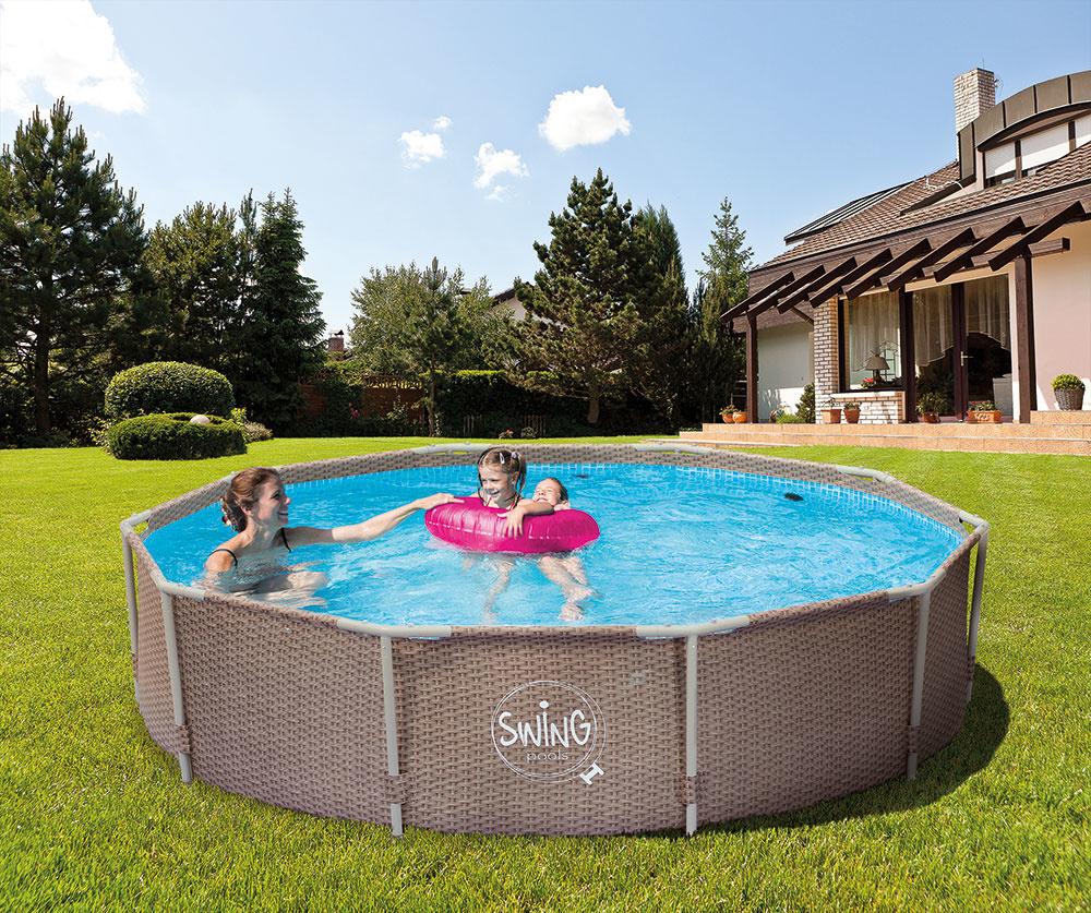 Rámové bazény Swing s podpornou konštrukciou sú vhodné pre tých, ktorí hľadajú jednoduché riešenie pre letné kúpanie.