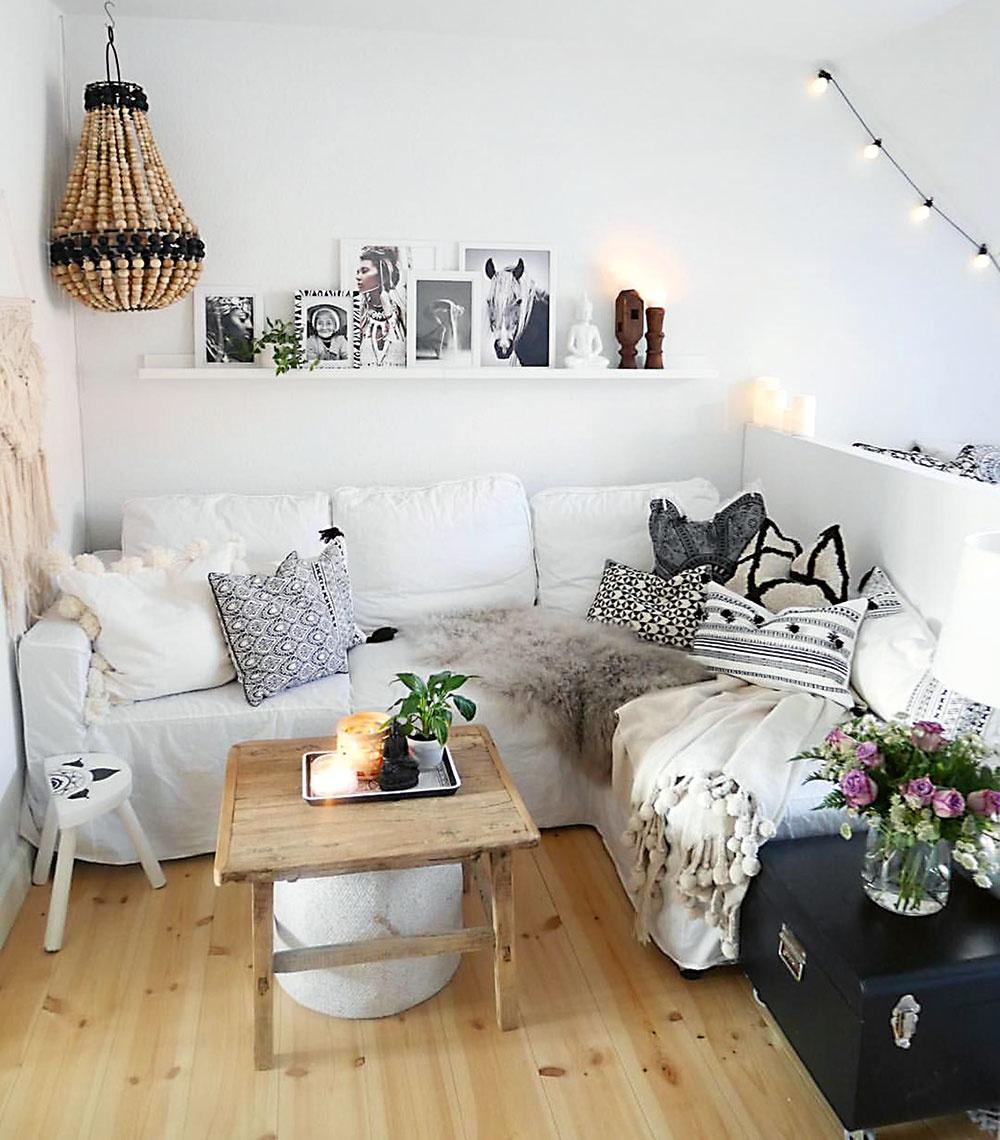 Pracujte spriečkami. Obývačka vmalom byte zväčša slúži ako viacúčelová miestnosť, napríklad v spojení so spálňou alebo kuchyňou či pracovňou. Niektoré priečky možno zbúrať úplne, atak môžete získať na priestore. Ak potrebujete priestor opticky zväčšiť, ale zároveň chcete aspoň čiastočne oddeliť dve zóny, napríklad obývaciu časť od spálne, zbúrajte priečku len čiastočne avytvorte nízky múrik.