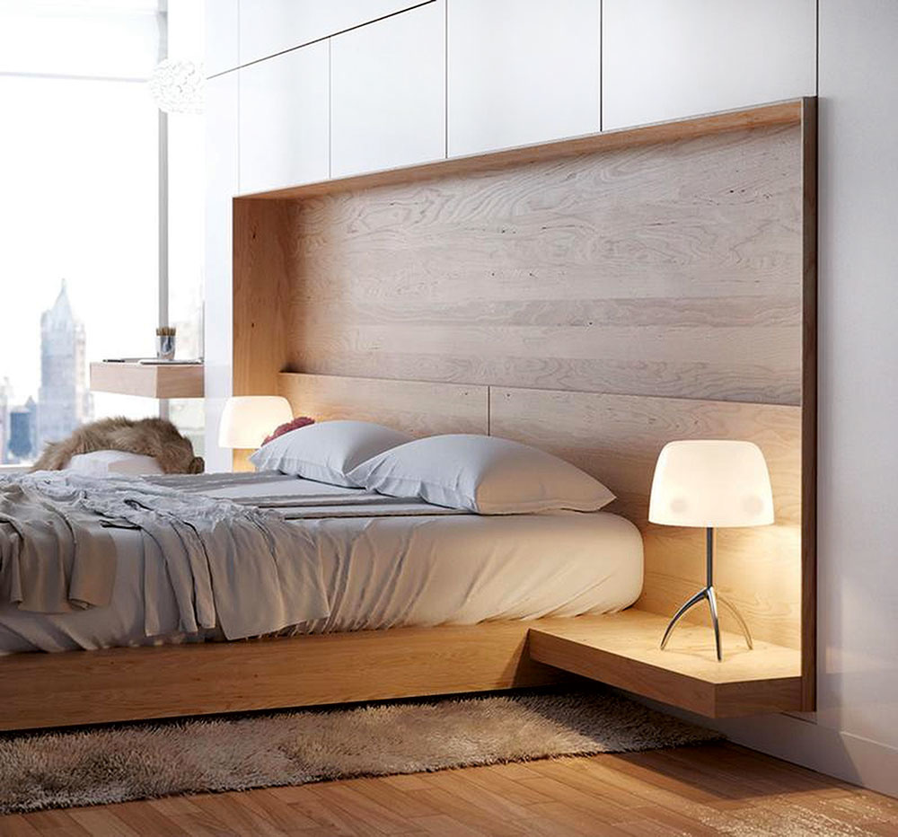 Okolo postele si vytvorte širokú uličku tak, aby sa každý z dvojice mohol dostať pohodlne a ľahko do postele aj z nej. Umiestnenie postele v rohu miestnosti nie je práve najšťastnejšie. Čalúnené čelo poskytne príjemnú oporu počas sedenia, najmä ak si  v posteli radi čítate alebo v nej raňajkujete. Obľúbené sú levitujúce nočné stolíky, ktoré bývajú priamou súčasťou čela postele. Priestor nad hlavou by mal zostať prázdny. Vyhnite sa tu otvoreným policiam s knihami či kvetmi.