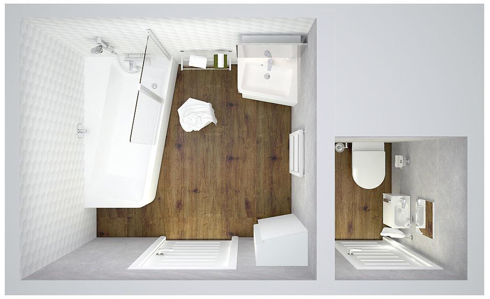 riešenia do malej kúpeľne - pôdorys