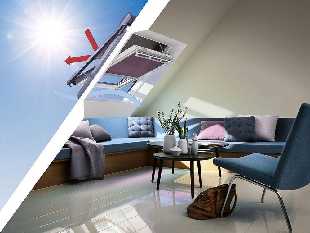 K tepelnej pohode prispejú aj vhodné tieniace doplnky. Vonkajšia roleta VELUX bráni tepelným ziskom v lete aj stratám v zime (znižuje ich až o 17 %). Chráni strešné okno pred poškodením, tlmí hluk z dažďa a umožňuje úplné zatmenie miestnosti. Aby ste na tienenie nemuseli myslieť, môže sa oň postarať inteligentný systém VELUX ACTIVE. Pomocou senzorov monitoruje vnútorné prostredie a v prípade potreby interiér automaticky zatieni, aby sa neprehrieval. www.velux.sk