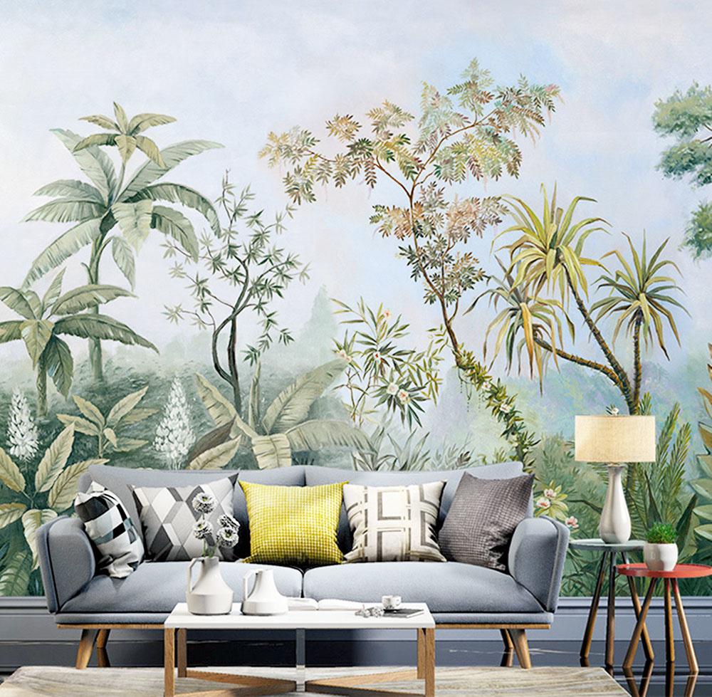 Tapeta plná stromov a exotických rastlín