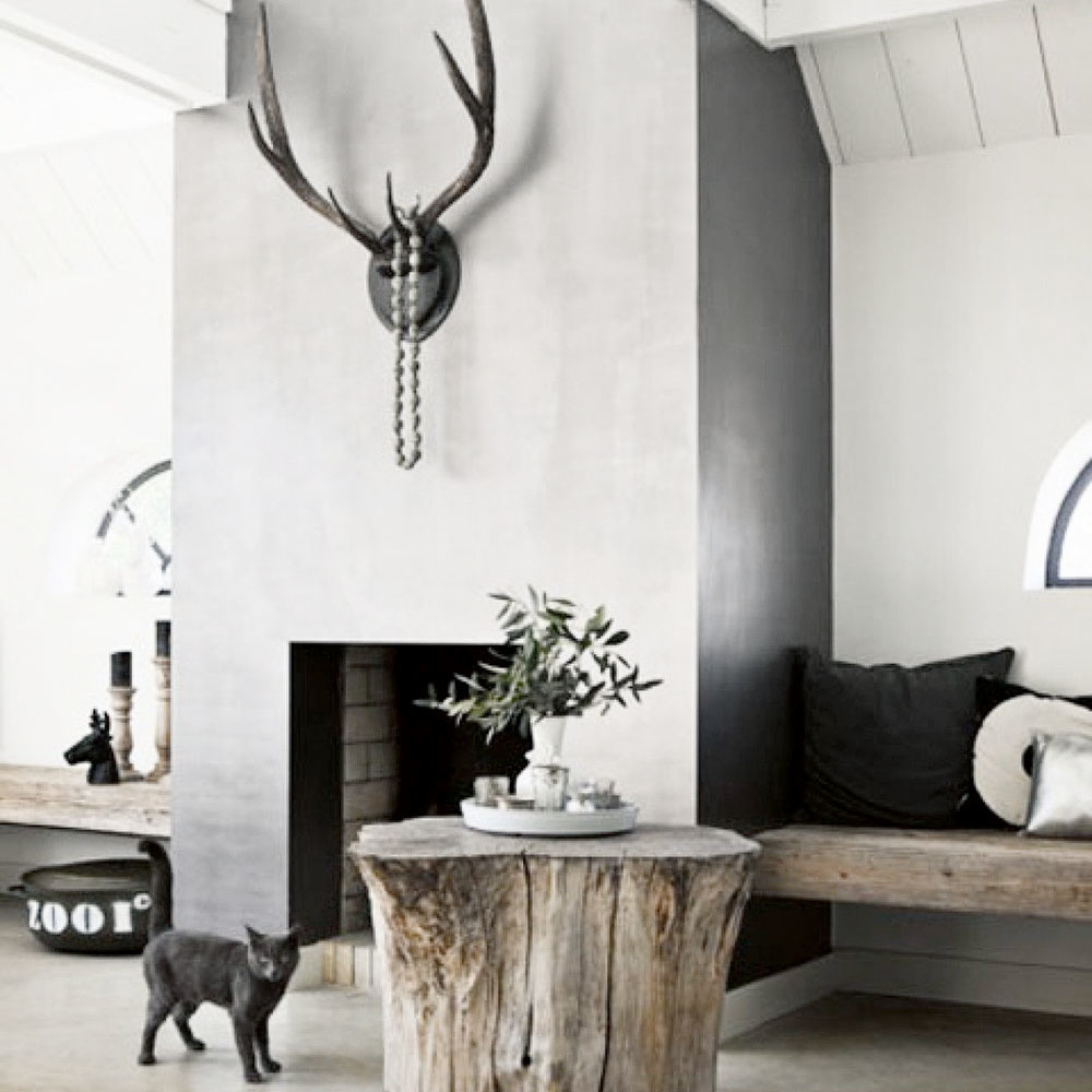 peň stromu v obývačke