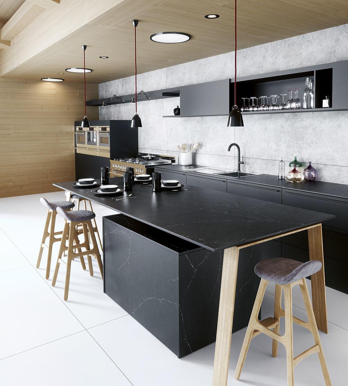 Technický kameň značky Silestone od spoločnosti Cosentino pozostáva z 93 % drveného kremeňa a 7 % špeciálnej živice. Predáva interiérové štúdio CYMORKA interior design.