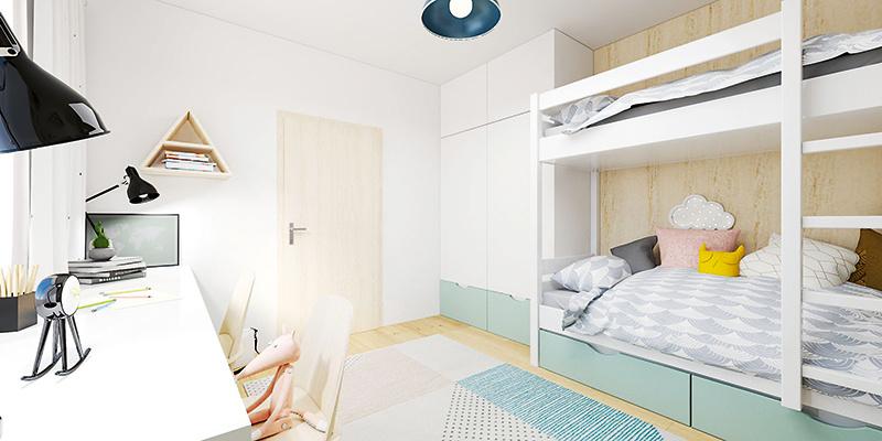 Šatníková skriňa je umiestnená za dverami a ponúka okrem výsuvných zásuviek v spodnej časti aj dostatok miesta na vešanie a uskladnenie oblečenia, keďže šatník má výšku až po strop.