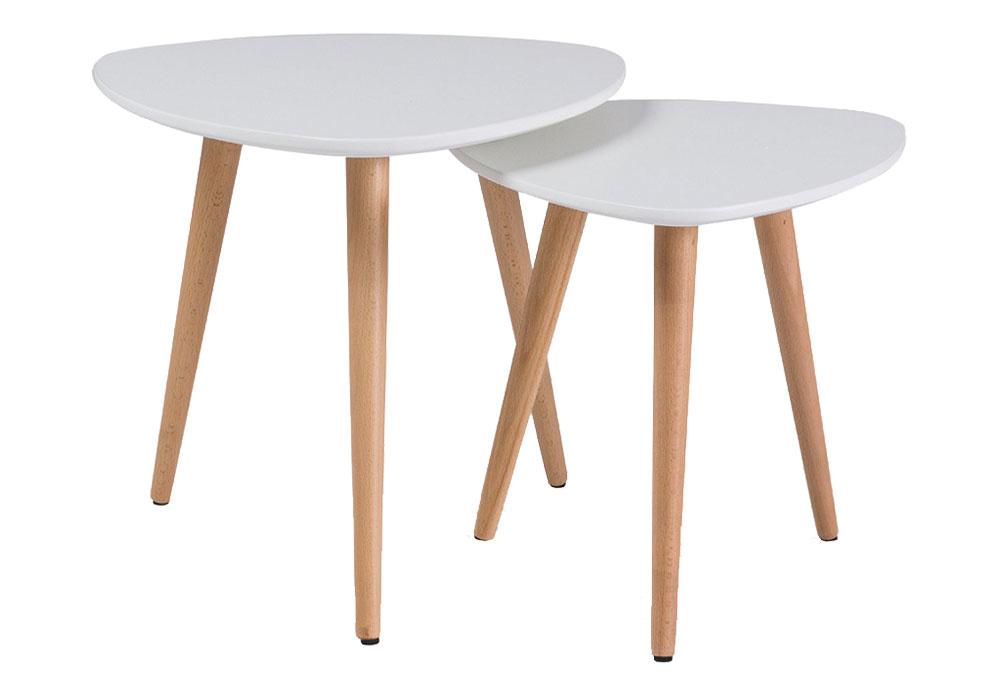 Súprava konferenčných stolíkov MOLAN A, bukové drevo, MDF, priemer 48 cm, výška 43 cm; priemer 40 cm, výška 39 cm, 74 €, www.nabytok-a-interier.sk
