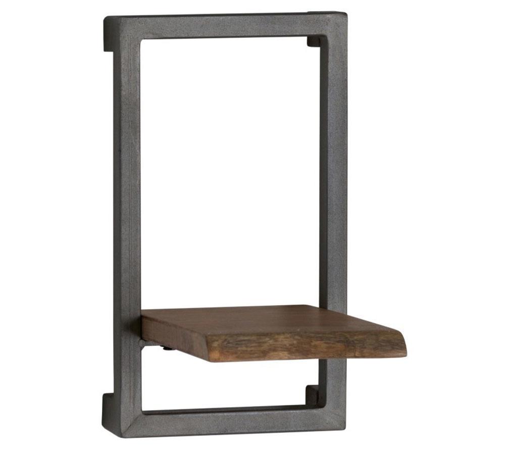 Dizajnová polica z kolekcie Live Edge, kovová konštrukcia, drevo z akácie, 35 × 25 × 20 cm, 38,03 €, www.malvarosa.sk
