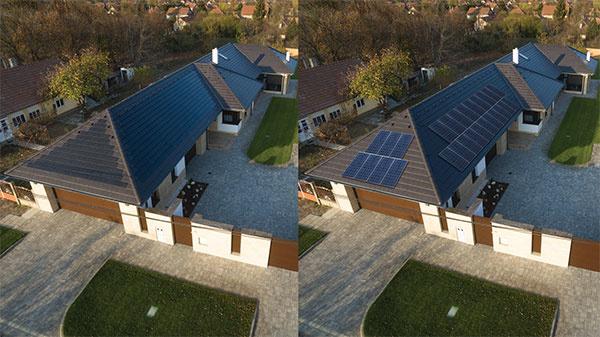 Na obrázku je uvedené porovnanie štandardných solárnych modulov a výrobku Terran Generon. Škridla so solárnymi článkami sa dá úplne zapustiť do roviny strechy, tým vôbec neruší vzhľad okolia.