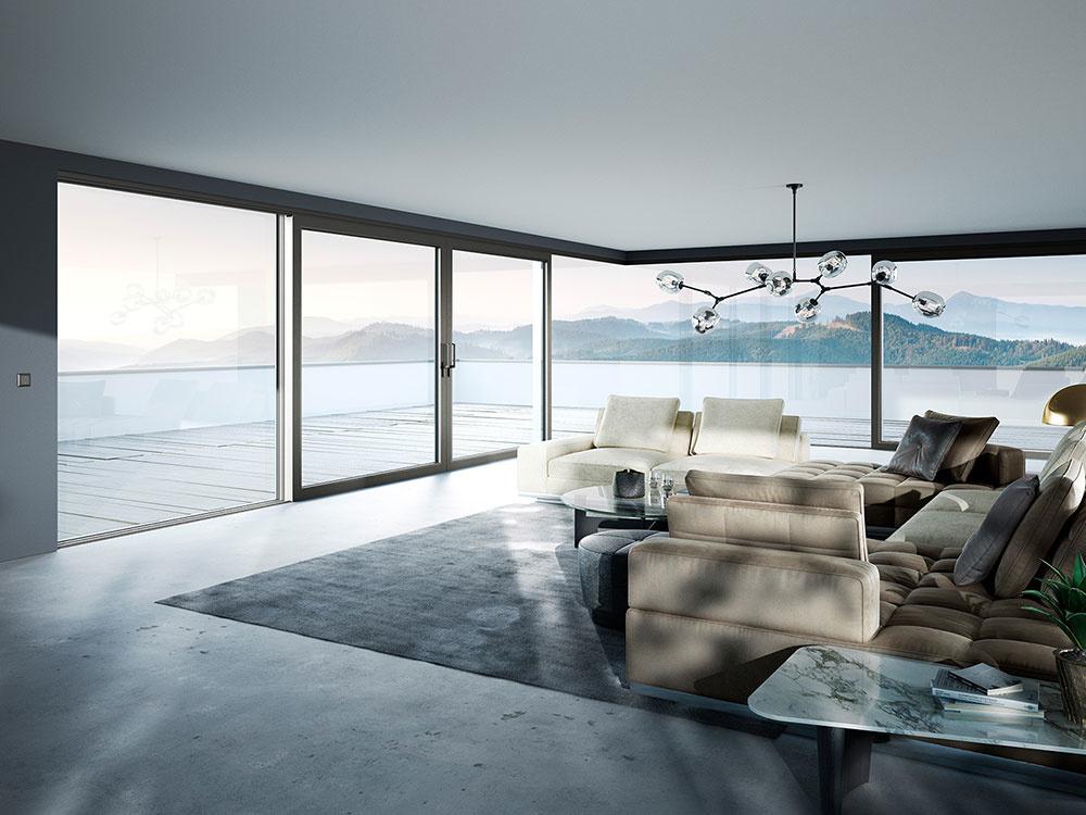 Kombinácia preskleného rohu a zdvižno-posuvných dverí heroal S 77 SL v sivom farebnom tóne Les Couleurs<sup>®</sup> Le Corbusier 4320H gris 59 určite spĺňa túžbu po lepšom presvetlení a perfektnej harmónii. Foto <sup>®</sup> heroal