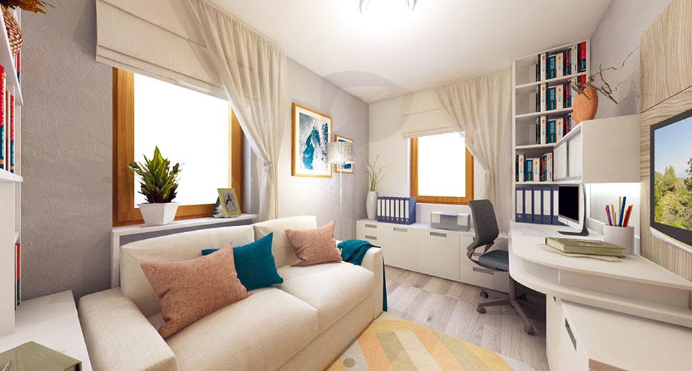 Svetlé farby a nízky nábytok sú zaručený spôsob, ako si v malej miestnosti udržíte žiadanú vzdušnosť. Dva protiľahlé rohy sú vďaka otvoreným policiam využité až po strop. Nábytok na mieru dokáže i v malej izbe využiť naozaj každý centimeter.