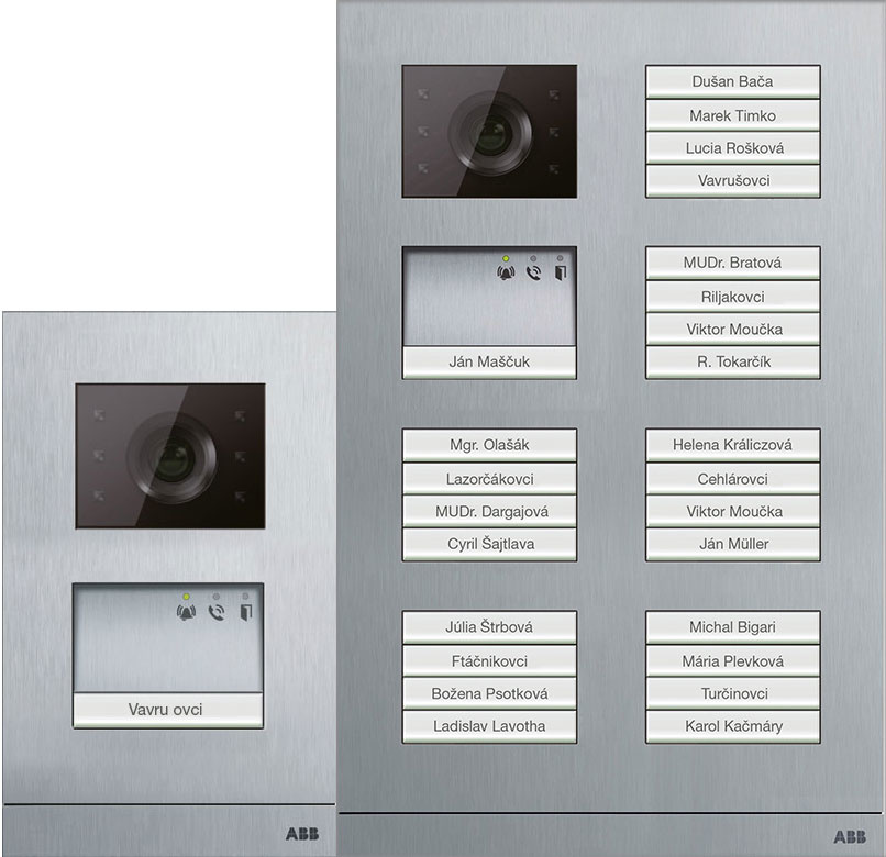 Vonkajšie tlačidlové tablo s úpravou hliníkovej zliatiny odolnou voči poveternostným vplyvom. Video kamera má kryt odolný voči ohňu a mechanickému poškodeniu, a vstavané automatické vyhrievanie