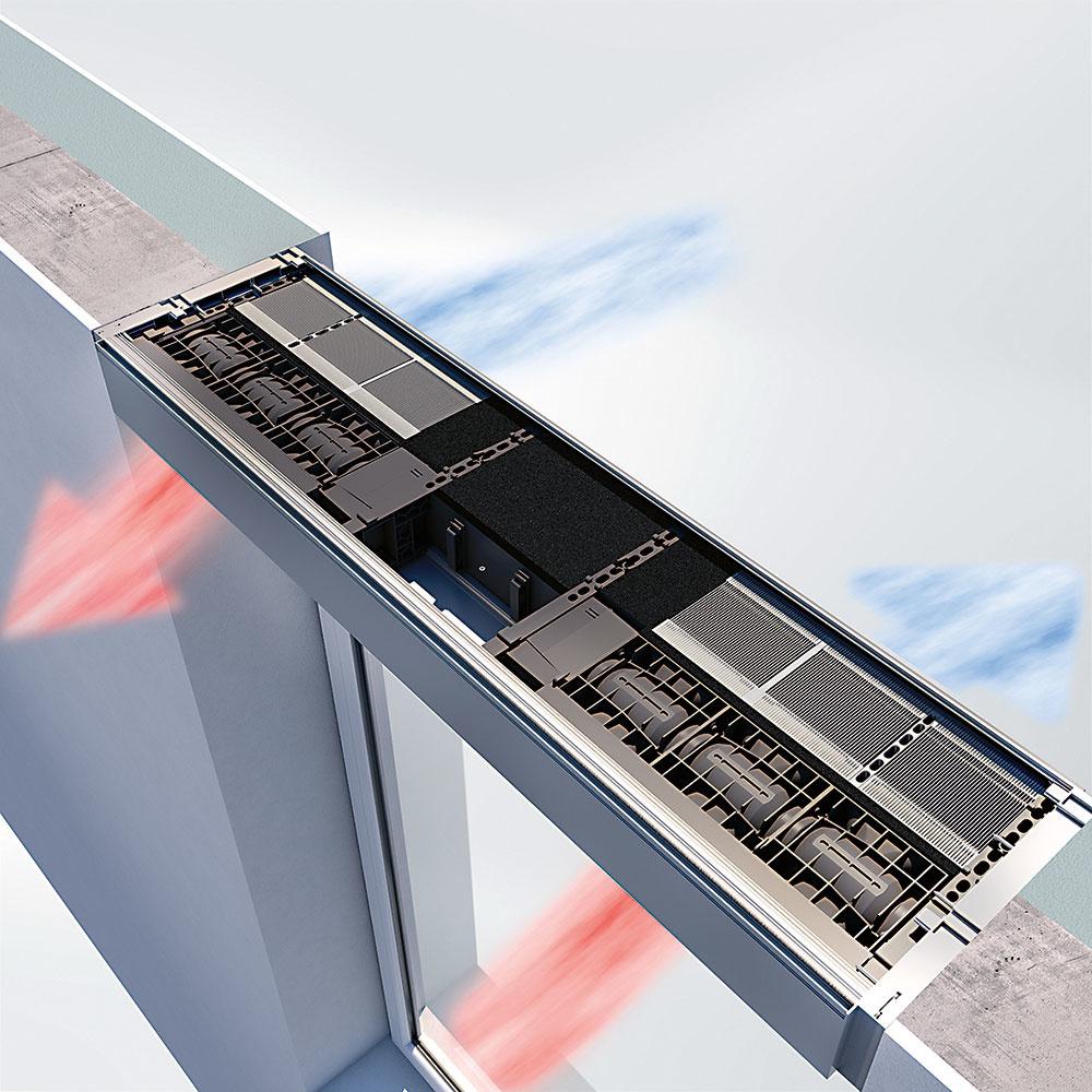 Decentralizovaný vetrací systém VentoTherm Twist vyvinula spoločnosť Schüco vspolupráci sfirmou Renson. Má vysokú mieru rekuperácie tepla (až 80 %) akdispozícii je buď bez filtra, shrubým filtrom (napríklad na prach, peľ, spóry) alebo sfiltrom jemných častíc (napríklad na baktérie). Možno ho integrovať do všetkých štandardných okenných systémov Schüco – horizontálne alebo vertikálne. Ovláda sa manuálne alebo automaticky, sohľadom na kvalitu vzduchu. Tichý režim zabezpečuje takmer bezhlučnú prevádzku afunkcia bypass (obtok) sa vlete postará onočné chladenie. www.schueco.sk