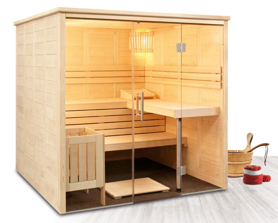 Dizajnová fínska sauna Freya z výberového dreva severského smreku s elegantným preskleným priečelím.