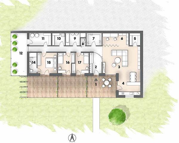 Pôdorys 1 terasa 2 predsieň 3 obývačka 4 kuchyňa 5 komora 6 pracovňa 7 šatník 8 WC 9 kúpeľňa 10 práčovňa 11 technická miestnosť, kotolňa 12 skleník 13 chodba 14kúpeľňa 15 rodičovská spálňa 16 detská izba 17 detská izba