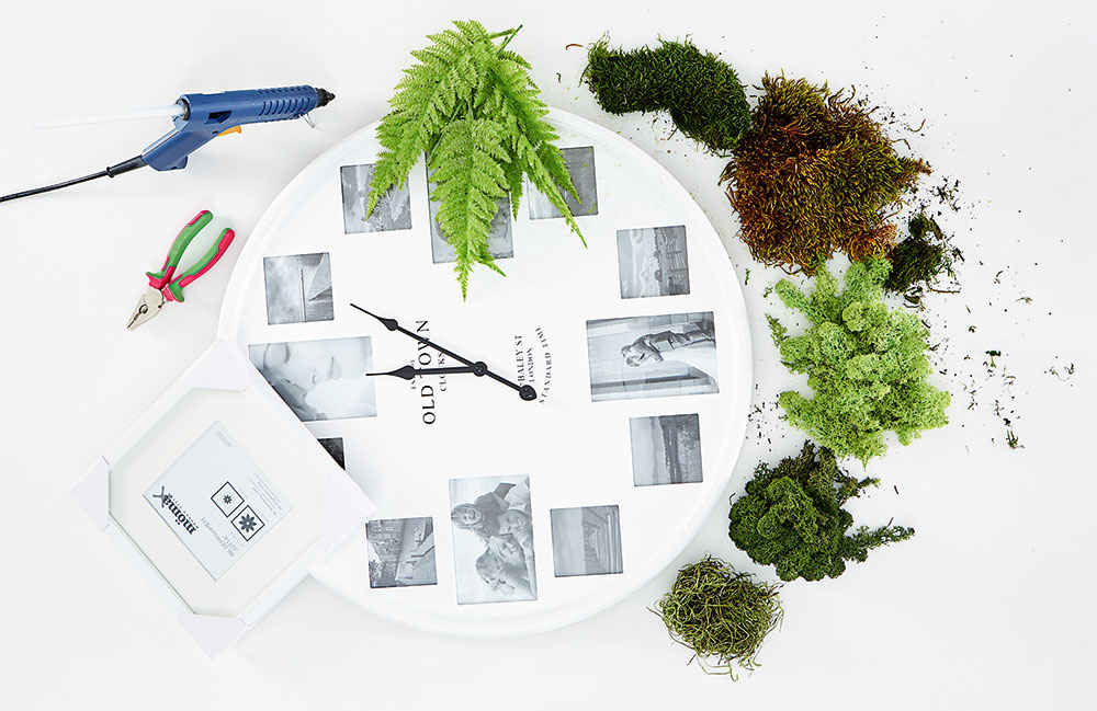 Príprava materiálu Na výrobu obrazu môžete použiť akýkoľvek rám starého obrazu, podnos alebo nástenné hodiny, ktoré sa vám už nepáčia. Ak sa rozhodnete pre hodiny, vyberte z nich ručičky.