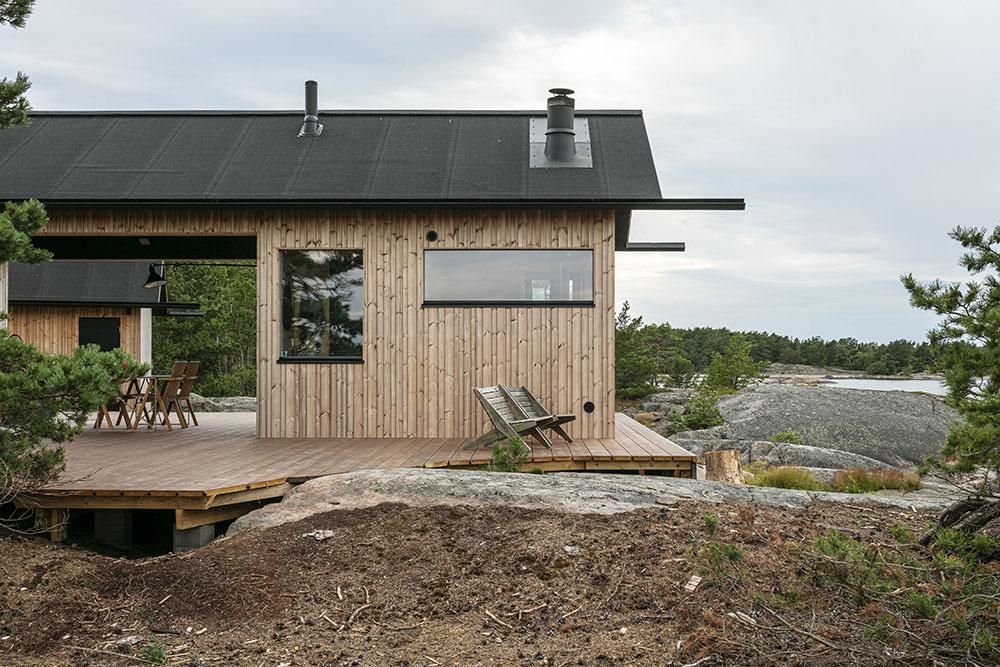 chata Ö s drevenou terasou