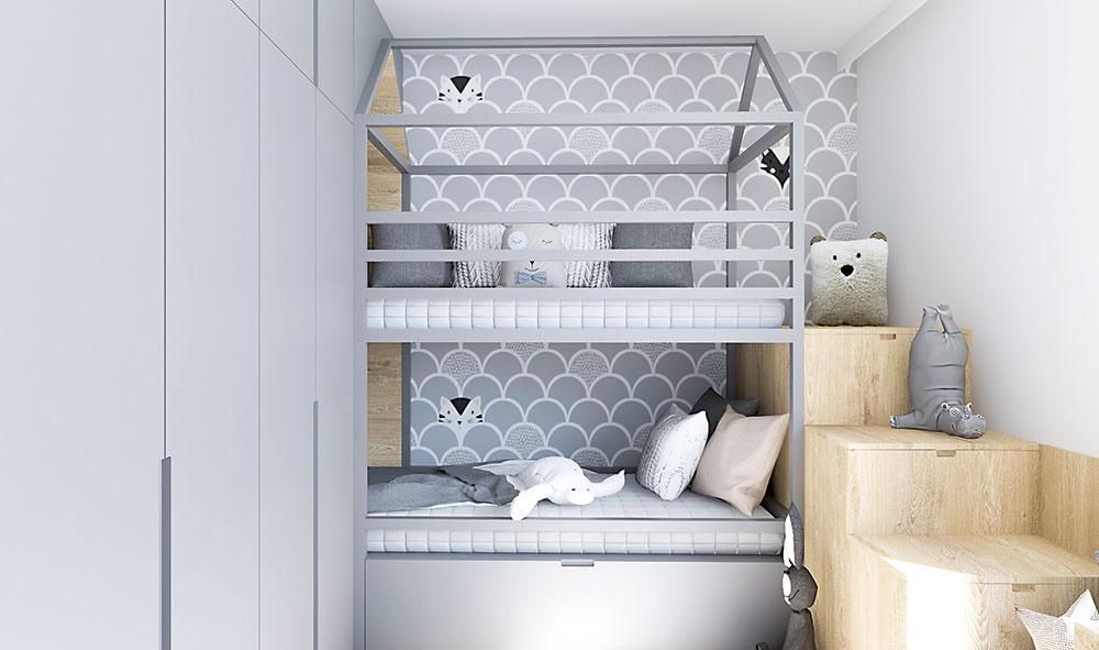 Detská izba v malom byte so skrytým pracovným kútikom
