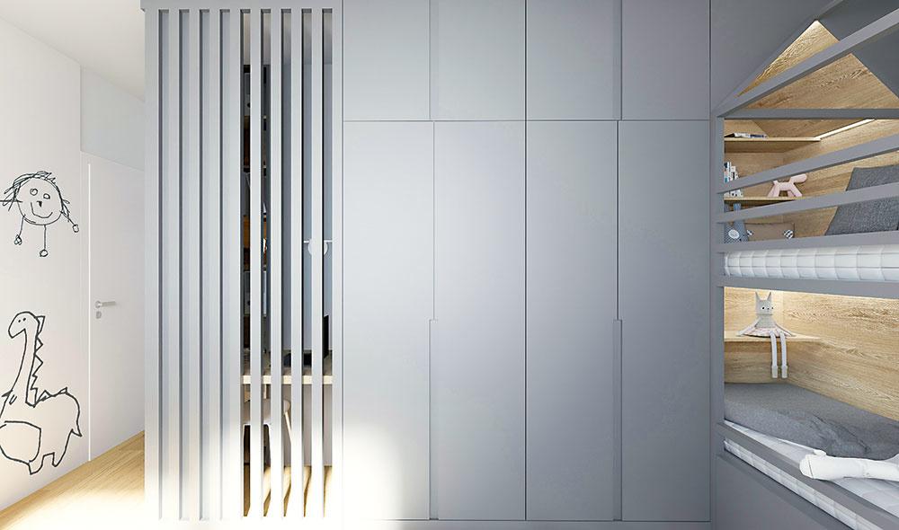 Vstavané skrine dostali nový nádych. Hladké dvierka azafrézované úchytky vytvárajú pocit sivej steny, pri ktorej sa deti môžu nerušene hrať.