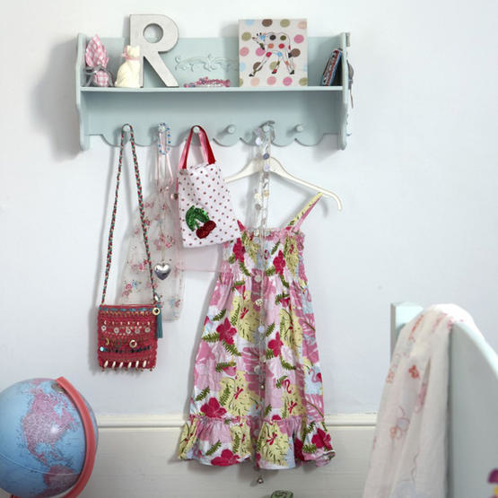 White childrens bedroom detail painted shelf clothes hooks colourful fun dress real home L etc 05/2007 pub orig