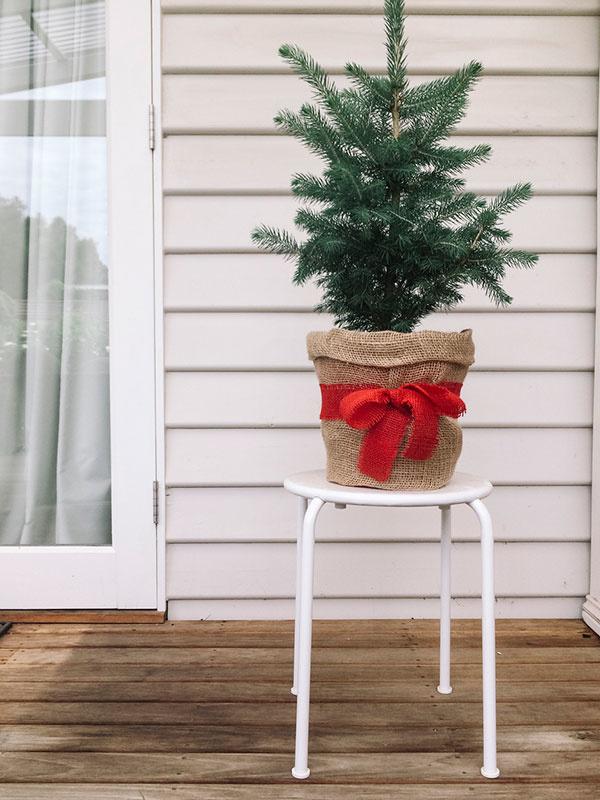 vianočný stromček na malom stolíku