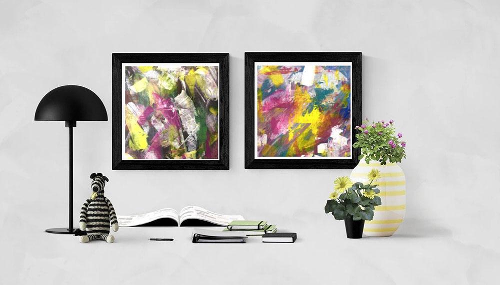 Originálne ručne maľované abstraktné obrazy, 40x40cm nájdete na robene.sk